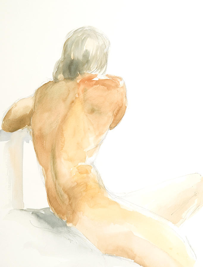Sitting Figure Painting - Nude Series by Eugenia Picado