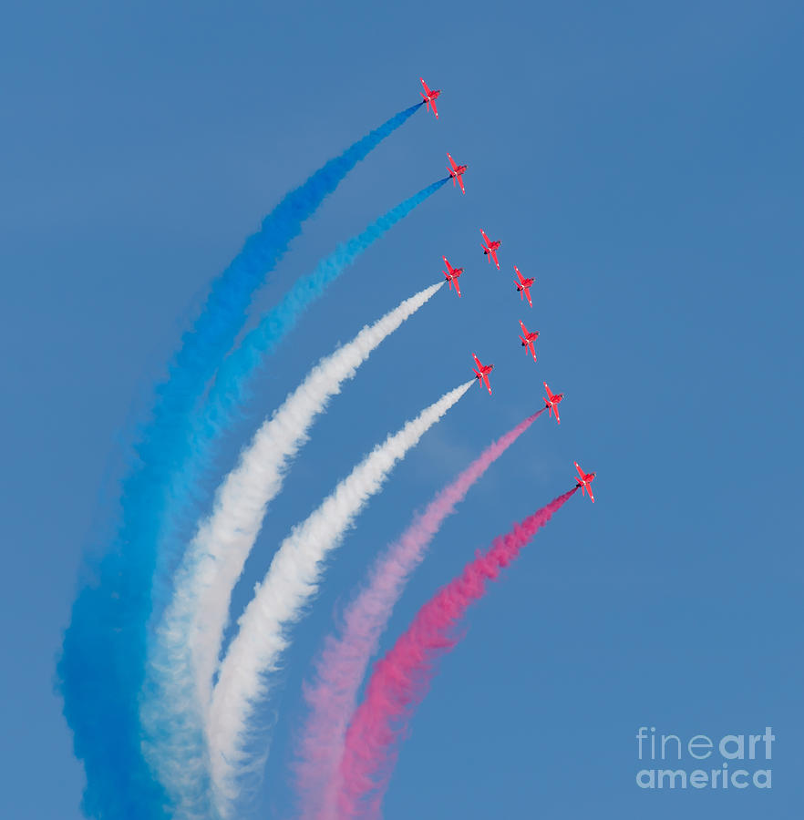Weymouth Photograph - Red Arrows display by Colin Rayner