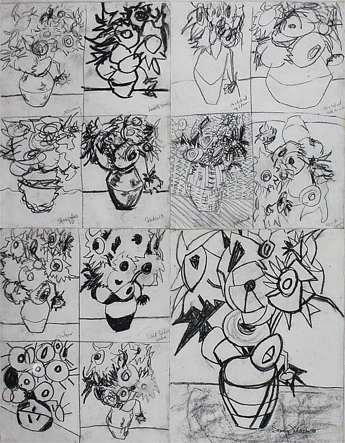 Figurative Drawing - 13 Sunflowers by Dominic Fetherston