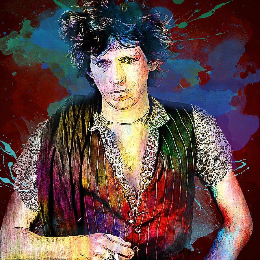 The Rolling Stones Digital Art - The Rolling Stones. Keith Richards. by Lilia Kosvintseva