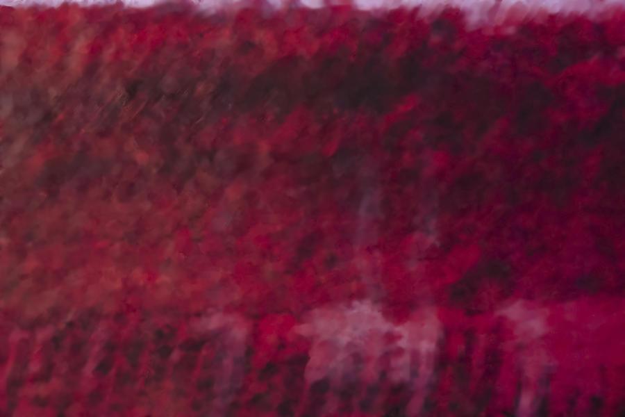 Crimson Yarn Behind Glass Digital Art