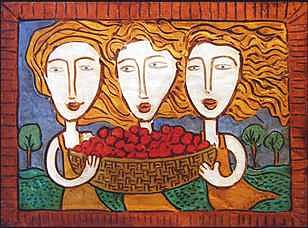 Women Painting - The Cherry Pickers by Lynn  Reeder