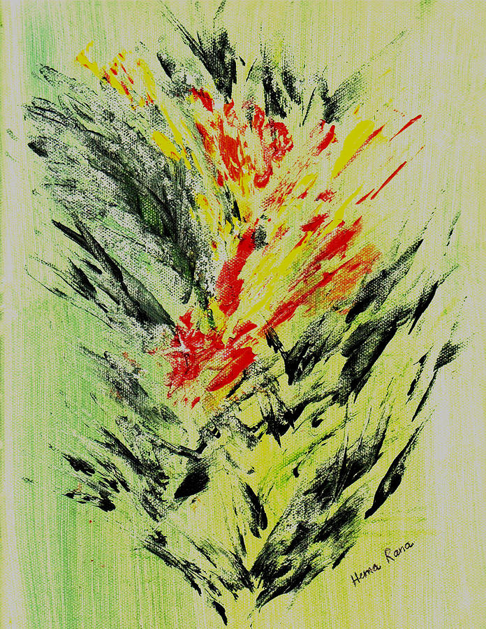 Abstract Flowers Painting - Abstract Flowers by Hema Rana