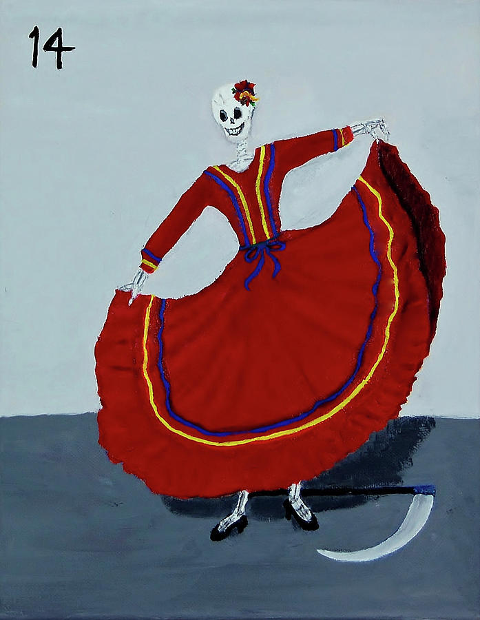 Day Of The Dead Painting - #14 La Muerte by Charla Van Vlack