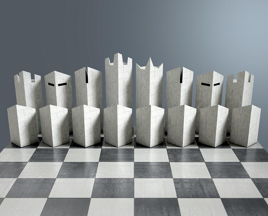 Modern Chess Set Digital Art By Allan Swart