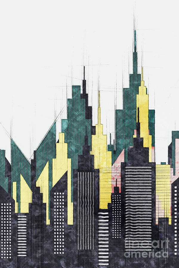 Modern City Buildings And Skyscrapers Sketch New York Skyline Wall