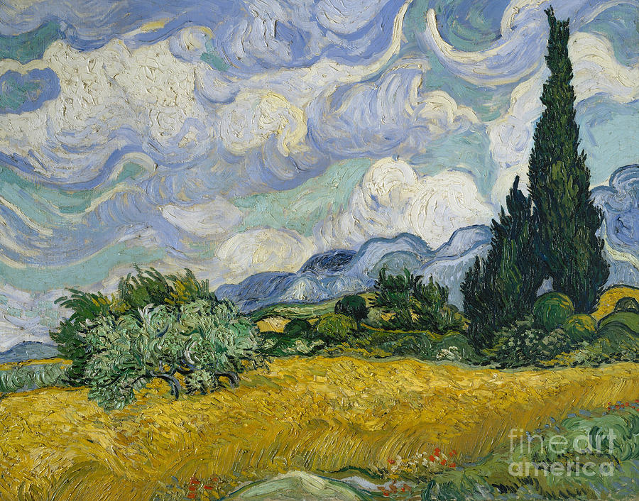 Vincent Van Gogh Painting - Wheat Field with Cypresses by Vincent Van Gogh