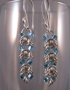 1418 Aqua Emprezza Earrings by Dianne Brooks