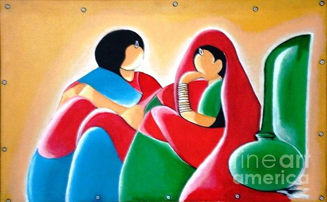 Abstract Painting - 142-laddies Gossip by Sd Chopra