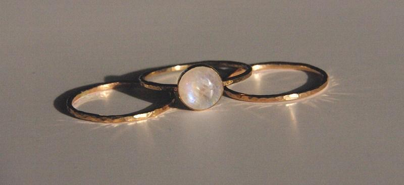 14k Gold Filled Jewelry - 14k Gold Filled Stack Stacking Stackable Moonstone Rings Set Of 3 Sizes 4 5 6 7 8 9 10 by Nadina Giurgiu