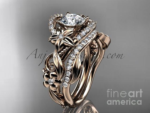 Diamond Engagement Ring Jewelry - 14kt Rose Gold Diamond Unique Flower Leaf And Vine Engagement Ring Set Adlr211s   by AnjaysDesigns com