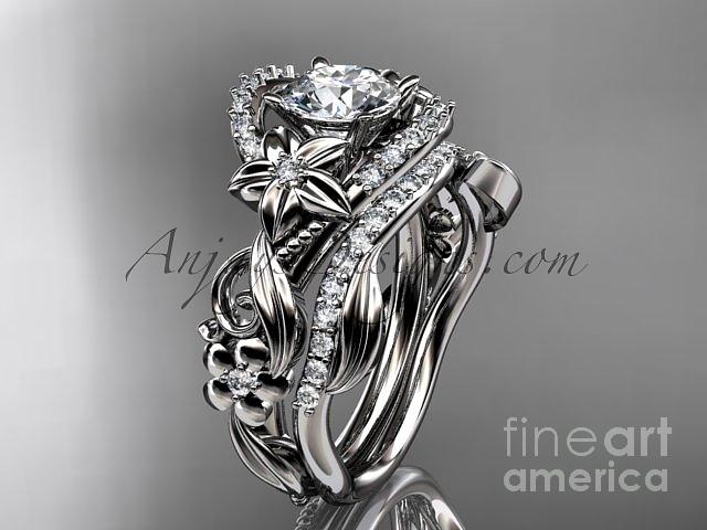 Leaf And Vine Engagement Ring Jewelry - 14kt White Gold Diamond Unique Flower Leaf And Vine Engagement Ring Set Adlr211s   by AnjaysDesigns com