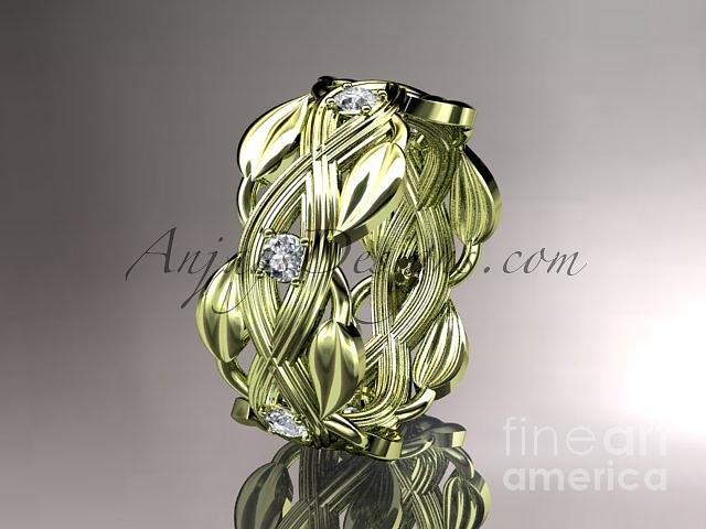 Diamond Engagement Ring Jewelry - 14kt Yellow Gold Diamond Floral Wedding Ring Engagement Ring Adlr259   by AnjaysDesigns com