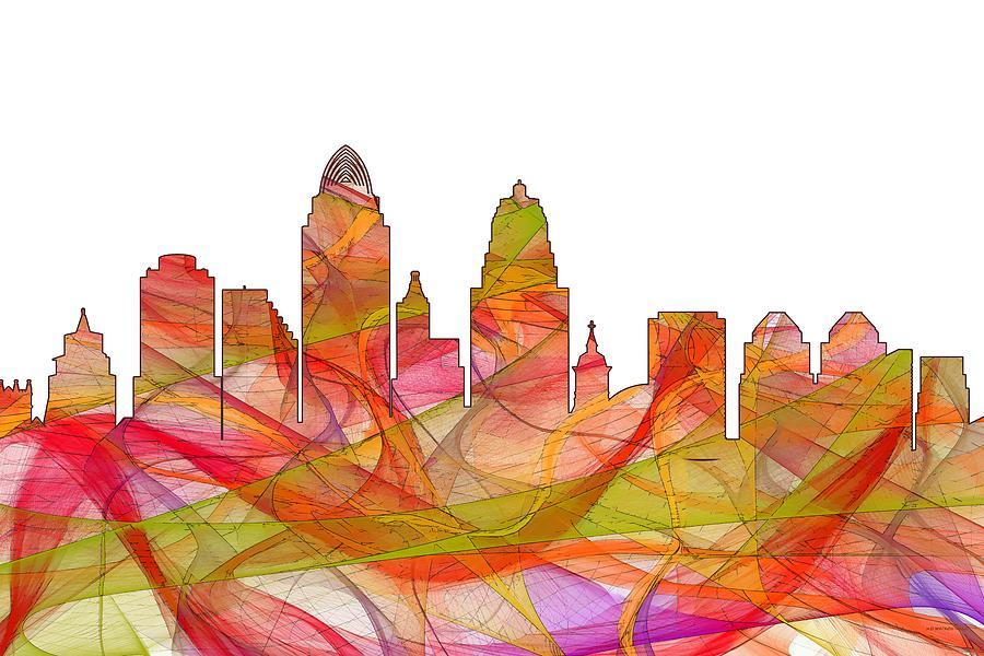 Landscape Digital Art - Cincinnati Ohio Skyline  by Marlene Watson