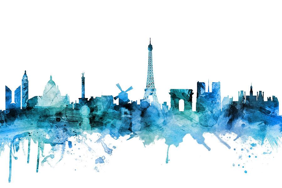 Paris Digital Art - Paris France Skyline by Michael Tompsett