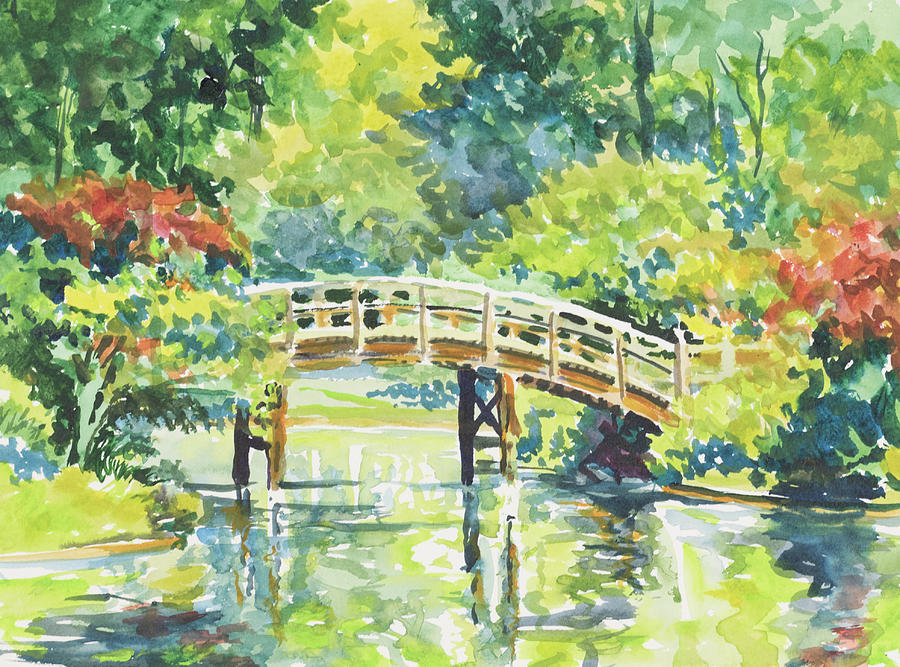 Missouri Botanical Garden Painting - 159 Mobot Japanese Bridge by Marilynne Bradley