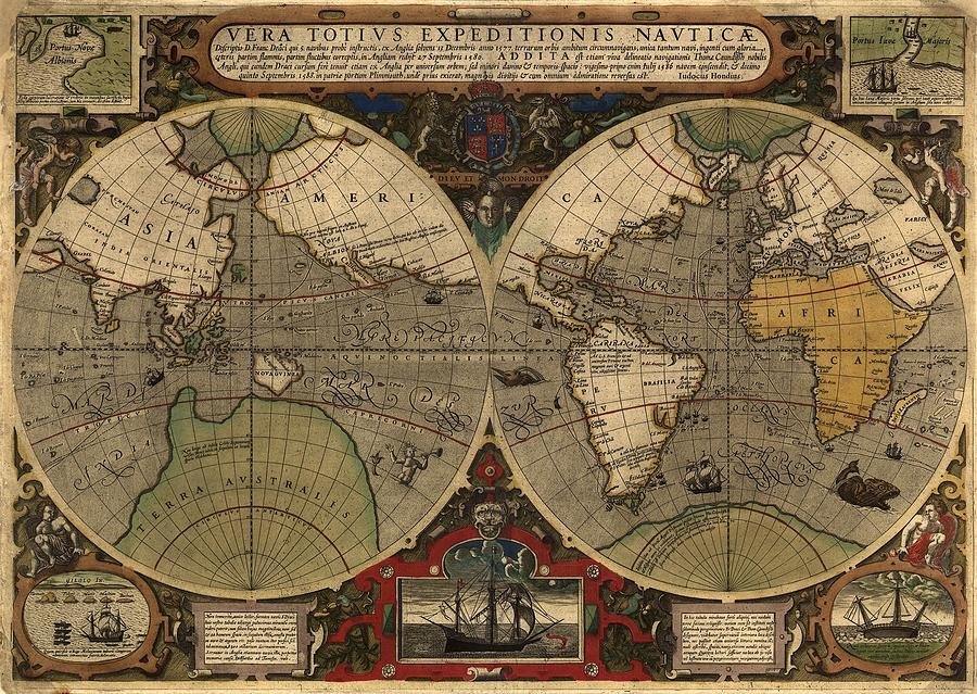 History Photograph - 1595 World Map Shows Routes by Everett