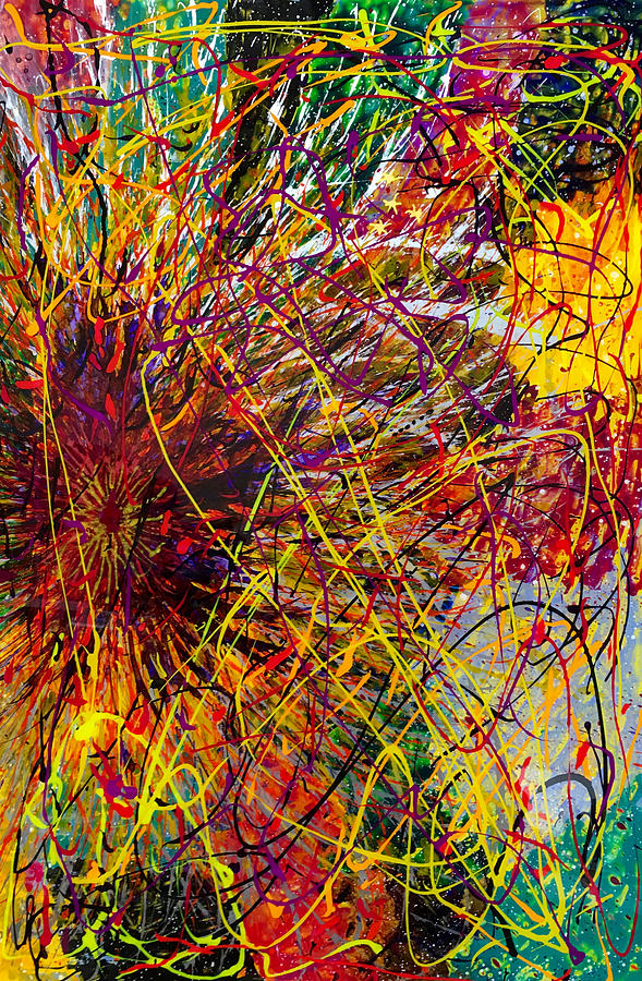 Abstract Painting - 16-10 String Burst by Patrick OLeary