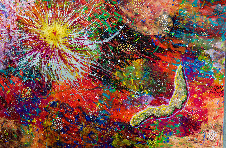 Abstract Painting - 16-9 Red Star Burst by Patrick OLeary