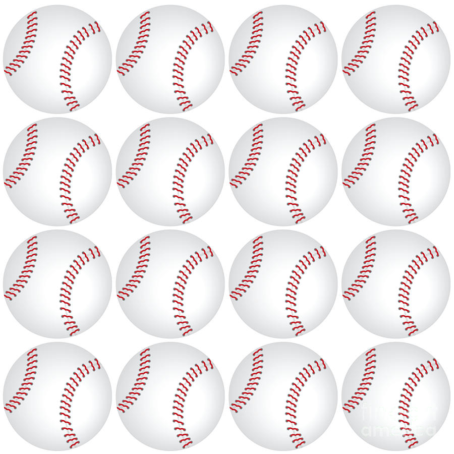16 Baseballs Digital Art By Anne Kitzman
