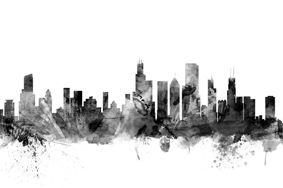 Chicago Digital Art - Chicago Illinois Skyline by Michael Tompsett