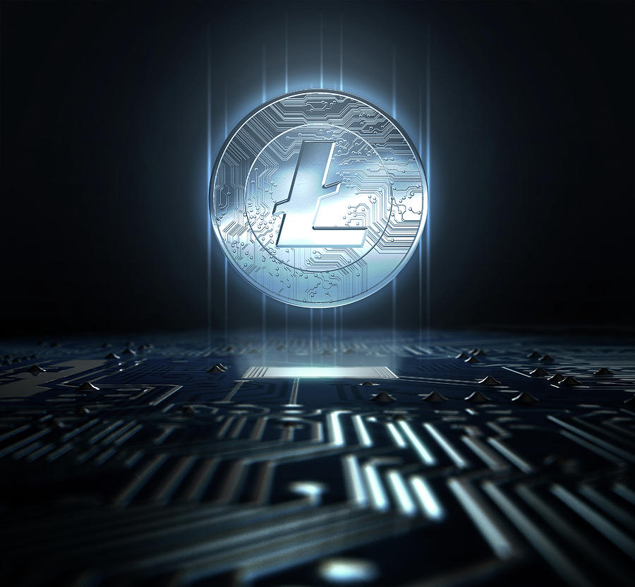 Litecoin Digital Art - Cryptocurrency And Circuit Board by Allan Swart