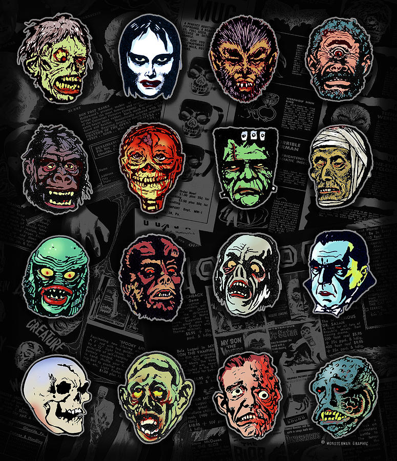 Halloween Mask Digital Art - 16 Horror Movie Monsters Vintage Style Classic Horror Movies  by Scott Jackson