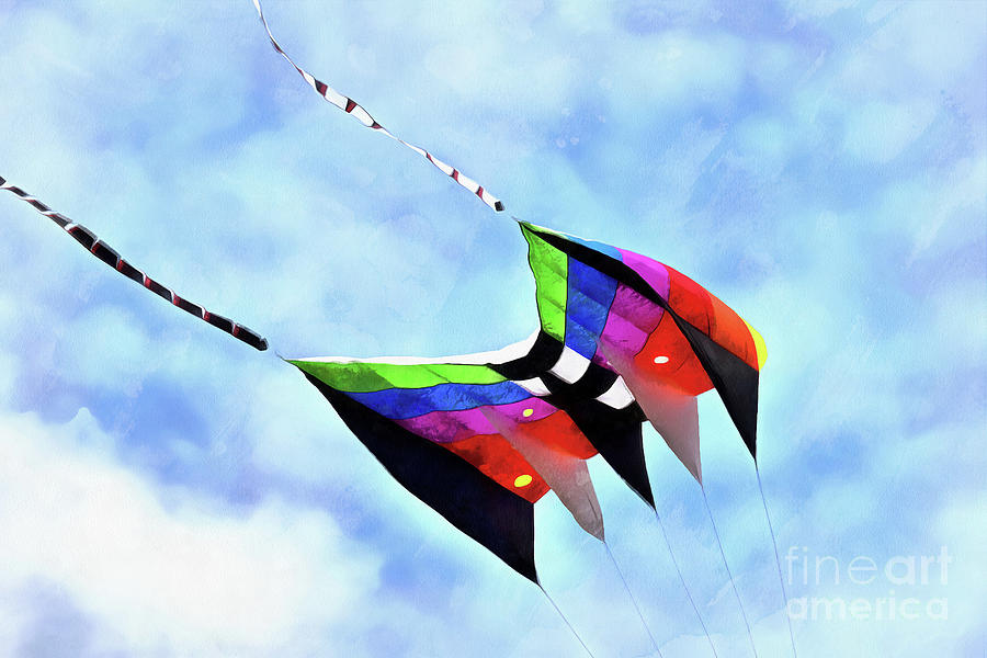 Artistic Painting - Kite Flying During Kite Festival by George Atsametakis