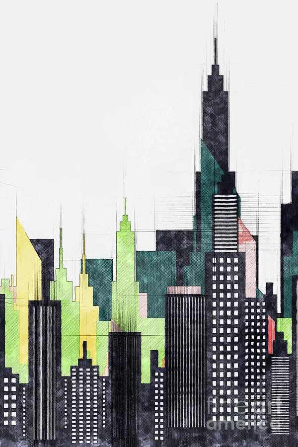68d7c294ef5 City Photograph - Modern City Buildings And Skyscrapers Sketch
