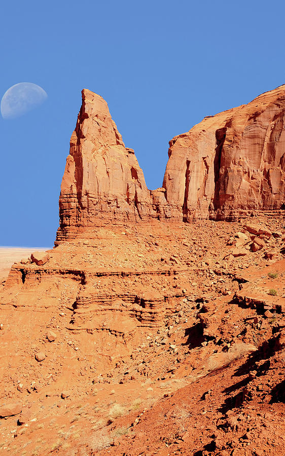 Moon Photograph - Monument Valley by Paul Moore