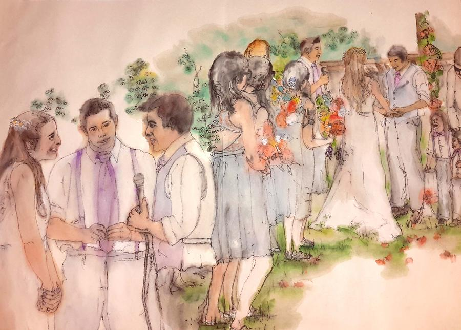 The Wedding Album  Painting by Debbi Saccomanno Chan