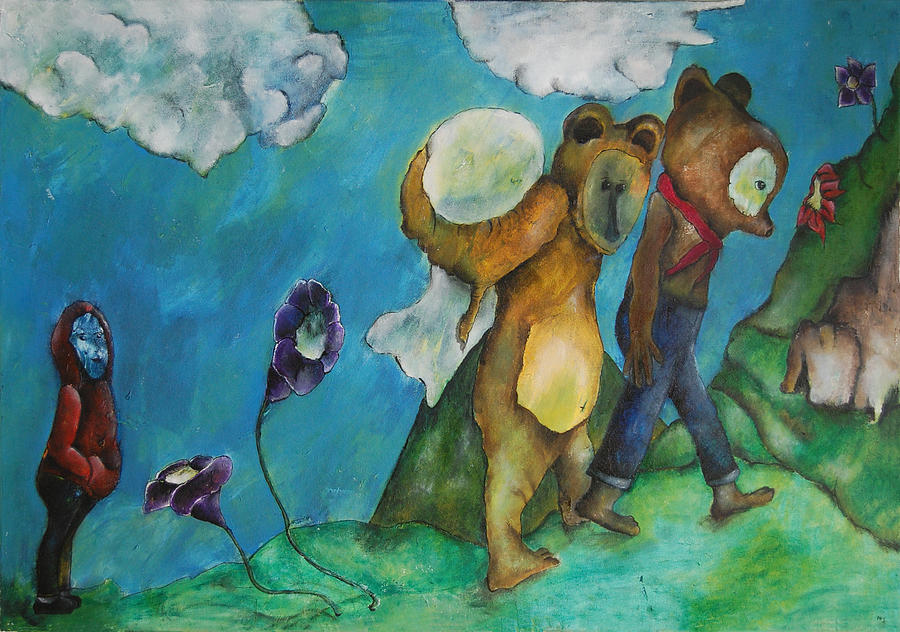 Bears Painting - Untitled 16 by Abigail Lee Goldberger