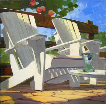 Wooden Chairs Painting - At The Cidery - I by Ken Campbell