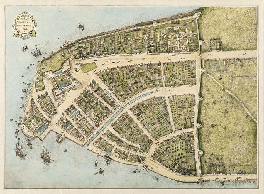 New Amsterdam Mixed Media - 1660 New Amsterdam Map by Dan Sproul