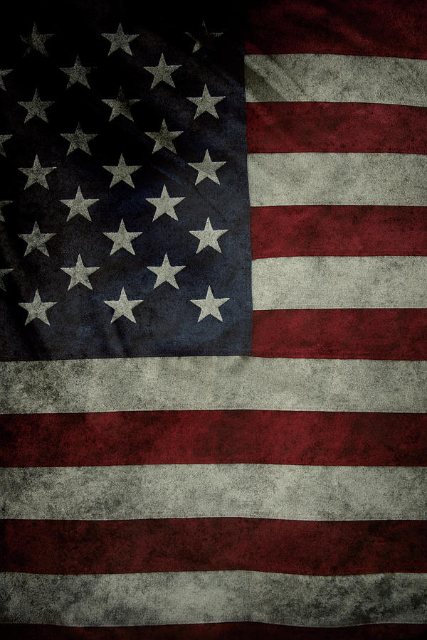 Closeup Photograph - American flag 62 by Les Cunliffe