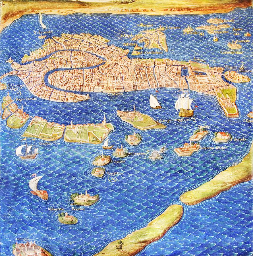 16th Century Map Of Venice Photograph by Sheila Terry