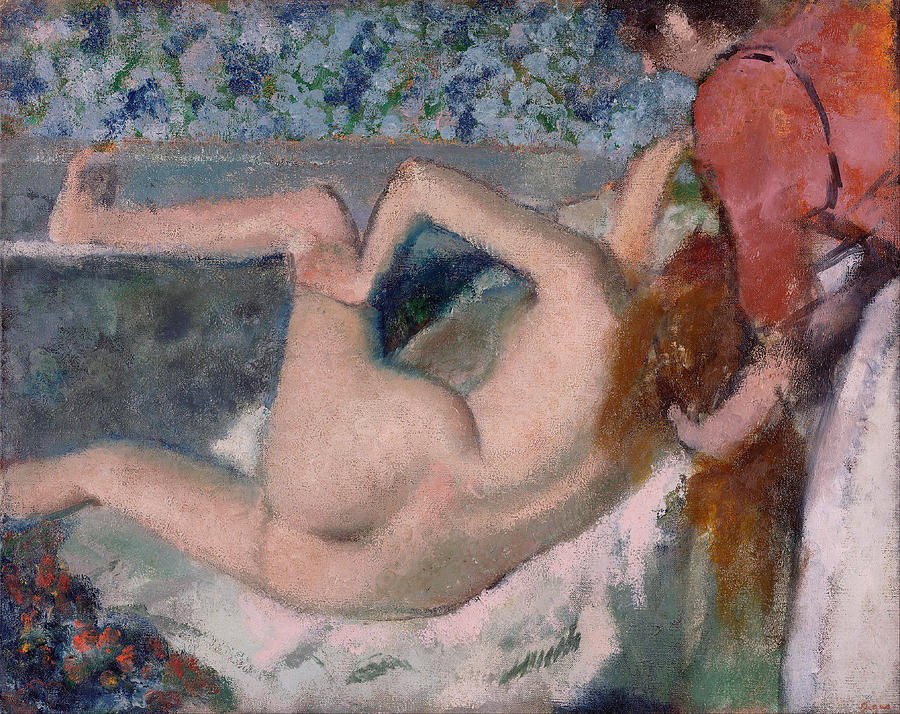 French Impressionism Painting - After The Bath by Edgar Degas