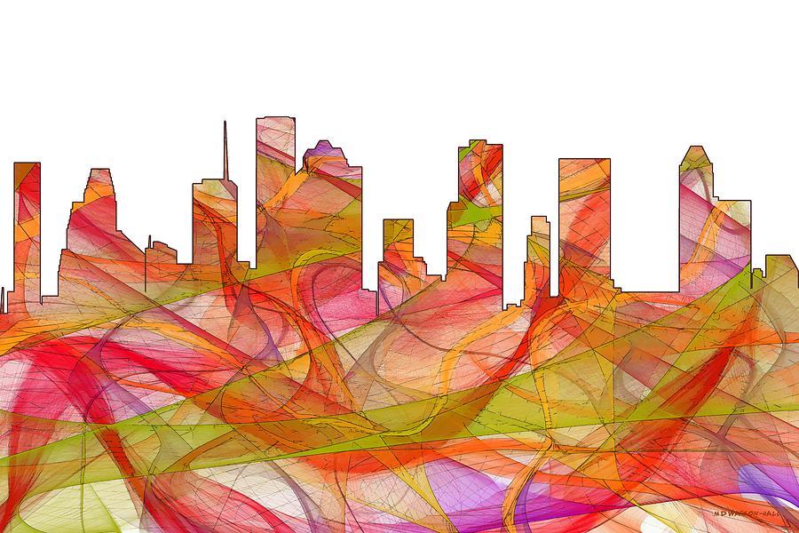 Landscape Digital Art - Houston Texas Skyline by Marlene Watson