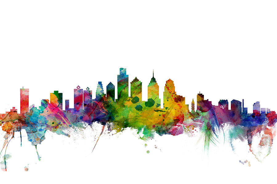 Philadelphia Digital Art - Philadelphia Pennsylvania Skyline by Michael Tompsett