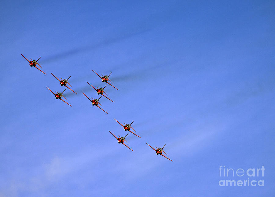 Red Arrows Photograph - Red Arrows by Angel Ciesniarska