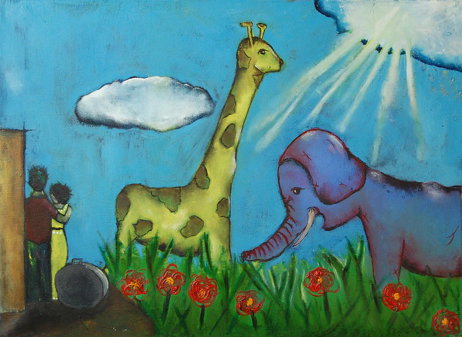 Giraffe Painting - Untitled 17 by Abigail Lee Goldberger