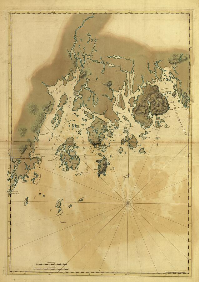 Historical Map Drawing - 1776 Maine Coast Map by Dan Sproul