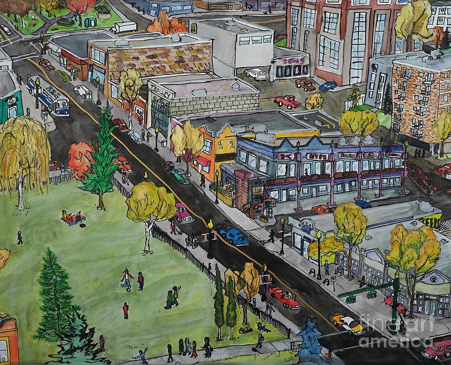 Calgary Painting - 17th Ave Calgary by Crafty Daniel