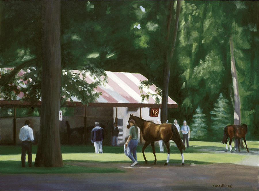 Horses Painting - 18 Minutes To Post by Linda Tenukas