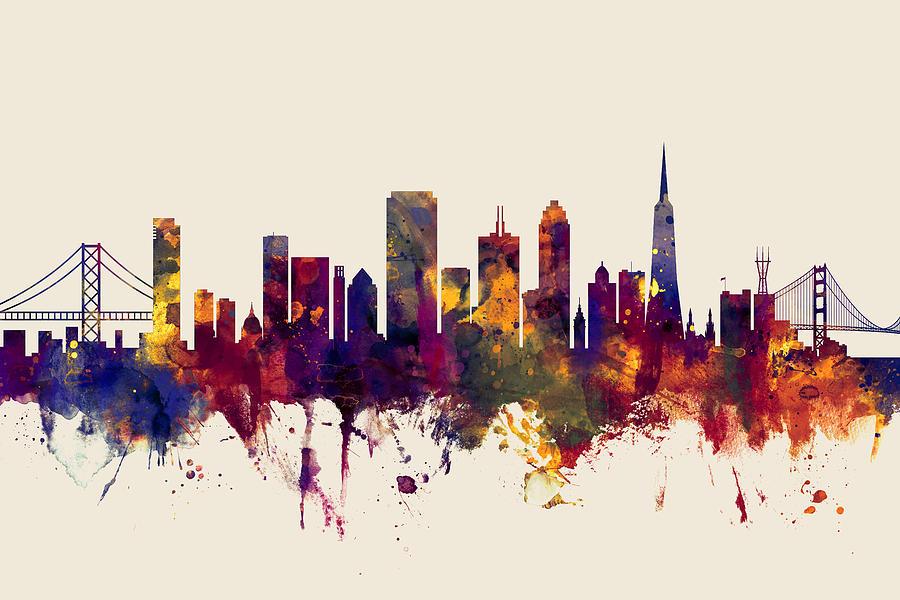 67cb5698e3d San Francisco City Skyline Digital Art by Michael Tompsett