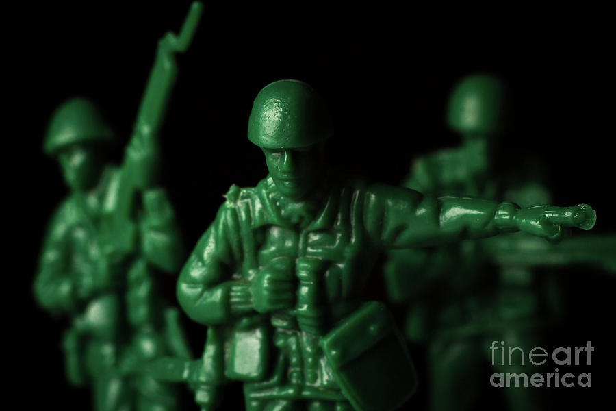 Green Photograph - Toy Soldiers War by Ezume Images
