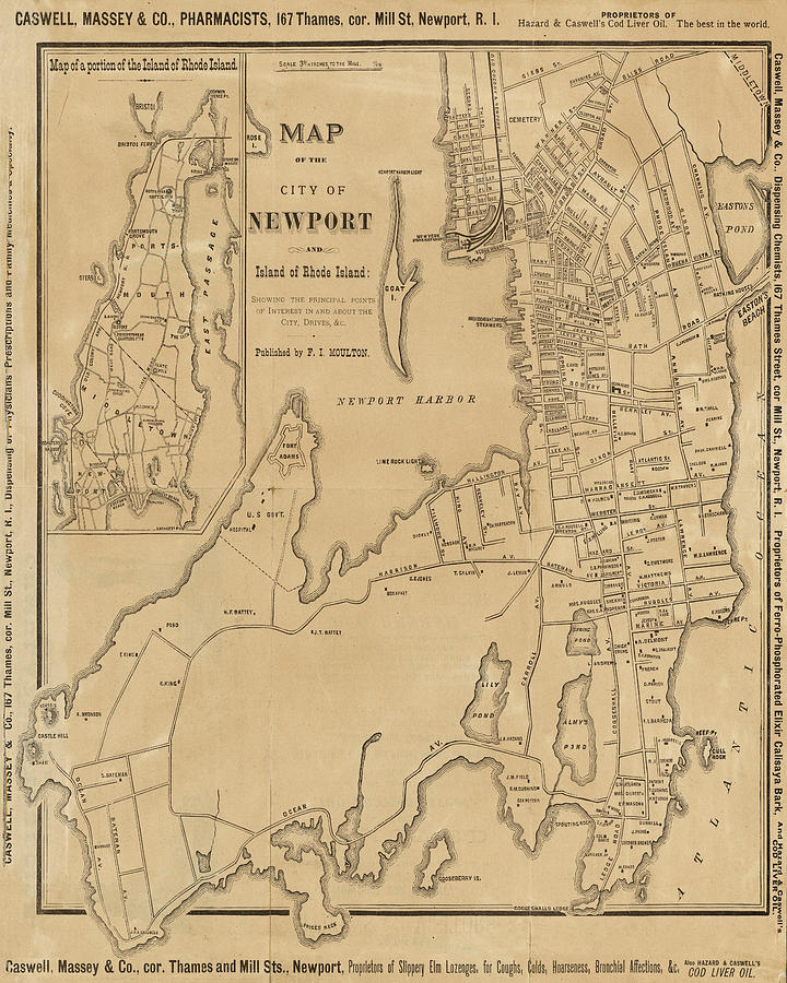 S Vintage Map Of Newport Ri Rhode Island Digital Art By Toby McGuire - 1800s world map