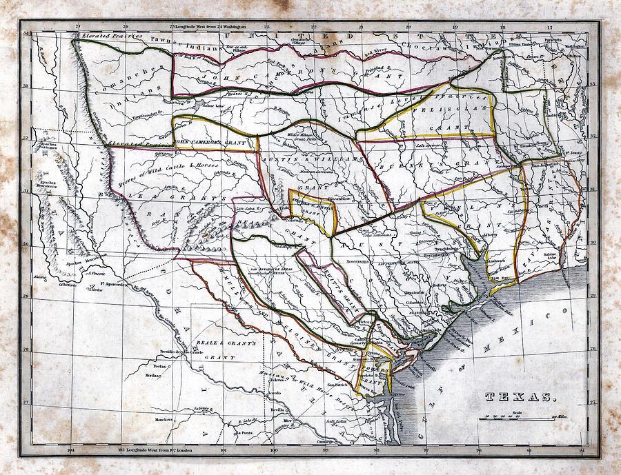 Map Of Texas 1835.1835 Bradford Texas Map By Daniel Hagerman