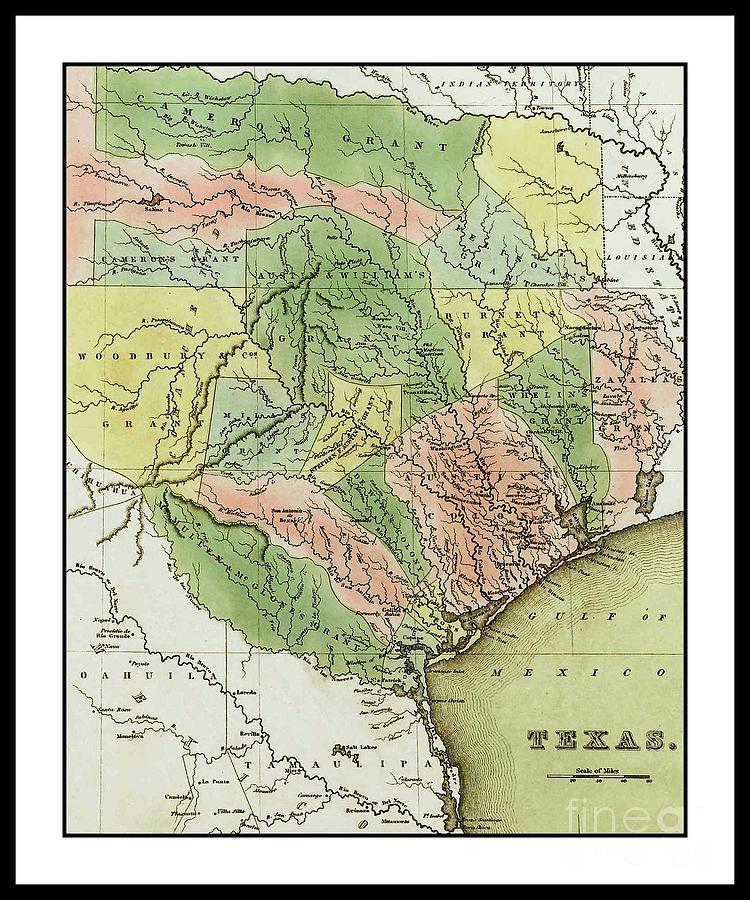 Map Of Texas Showing Austin.1838 Colonial Pioneer T G Bradford Map Of Texas Showing The Austin Colony By Peter Ogden Gallery