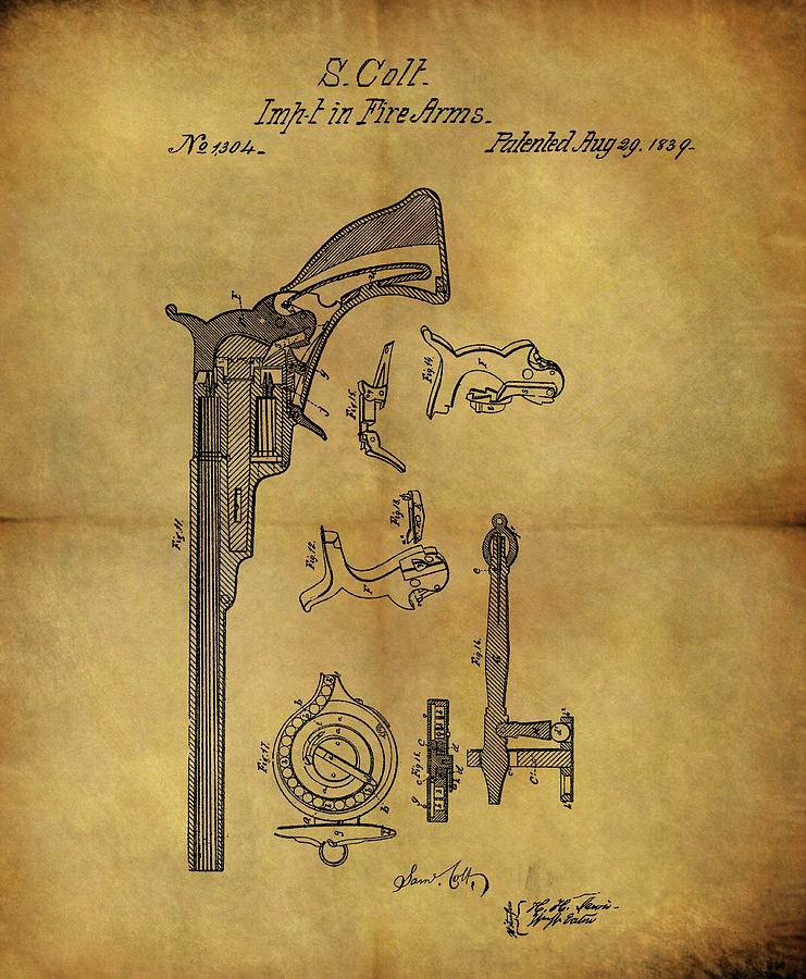 Colt Peacemaker Drawing - 1839 Samuel Colt Revolver Patent by Dan Sproul